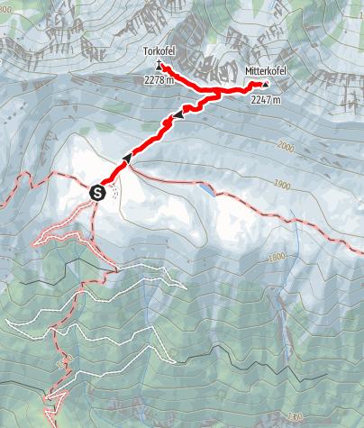 Karte / Von der Jaukenalm (1934 m) zum Torkofel (2276 m), Mitterkofel (2247 m) und zurück