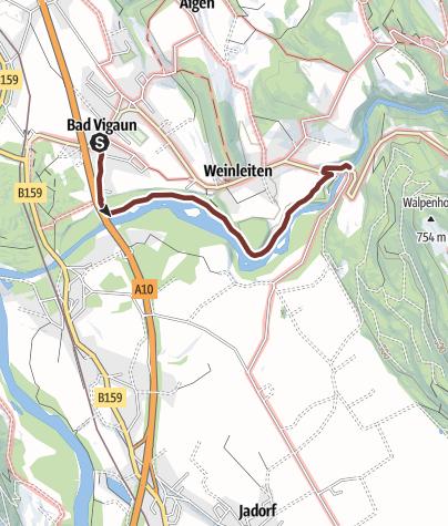 Map / Leonhardsweg Etappe 04: Bad Vigaun - Kuchl (Römerbrücke)