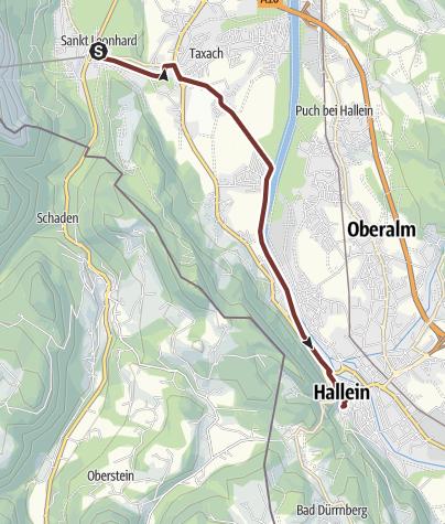 Map / Leonhardsweg Etappe 02: Grödig (St. Leonhard) - Hallein