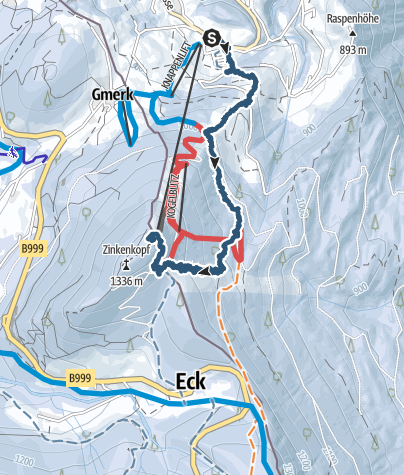 Karte / Abendskitour Zinkenstüberl Bad Dürnberg