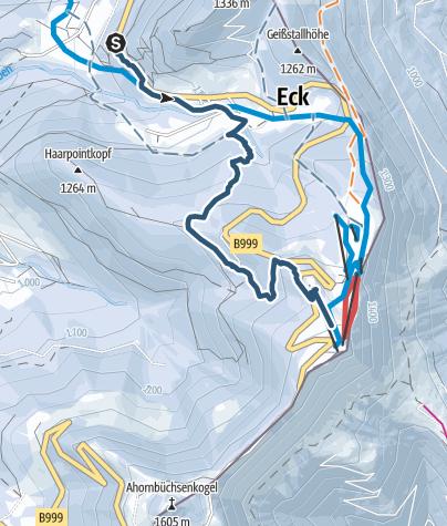Karte / Skitour Rossfeld - Waldtour