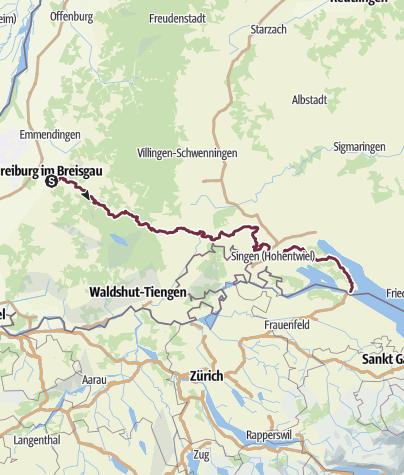 Karte / Querweg, von Freiburg nach Konstanz