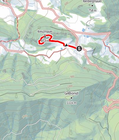Karte / Kreuzmauer Südwest Grat (UIAA III)