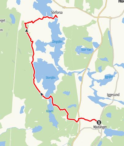 Map / Stråsjöleden,  Njutånger till Jesu Hjärtas kapell i Sörforsa