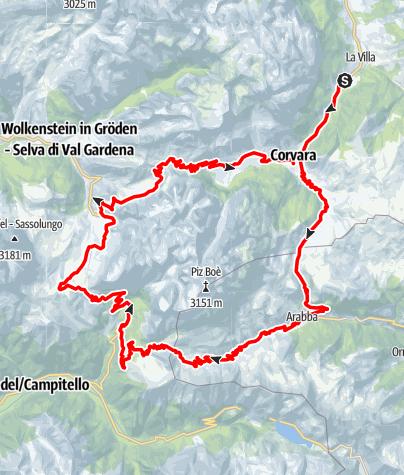 Karte / Maratona dles Dolomites - blaue Strecke