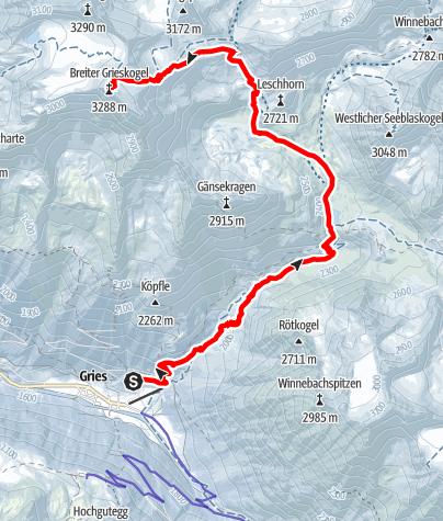 Karte / Breiter Grieskogel - Längenfeld/Gries