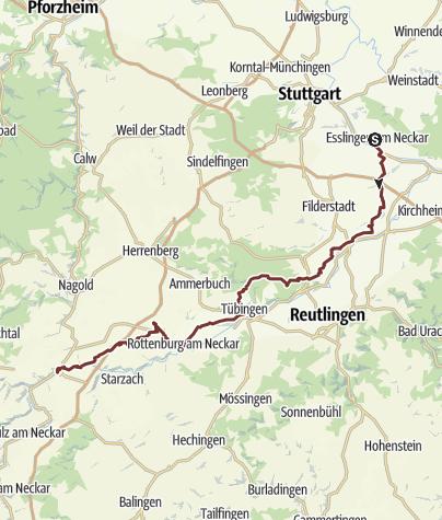 Karte / Jakobsweg | Esslingen - Tübingen - Rottenburg - Horb