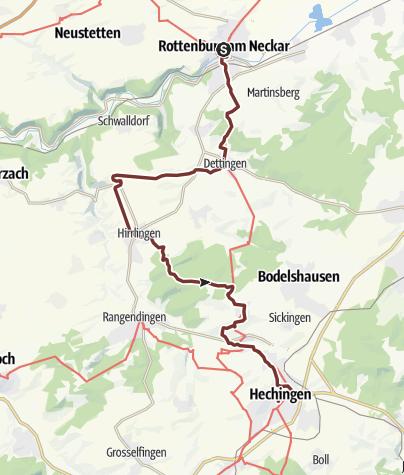 Karte / Jakobsweg | Variante Rottenburg - Hechingen