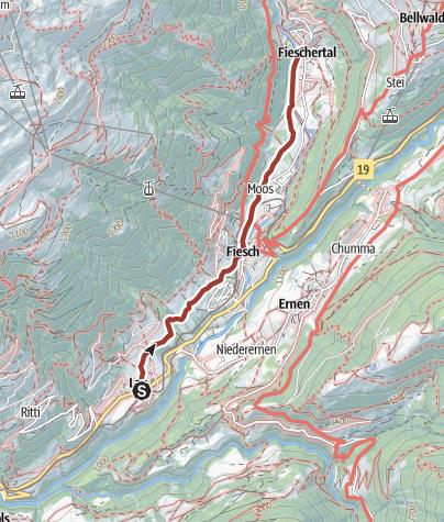 Karte / Auf dem Themenpfad Gogwärgiweg von Lax nach Fieschertal