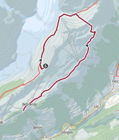 Karte / Rundwanderung vom Bettmerhorn via Märjelensee zur Bettmeralp