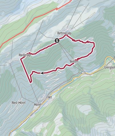 Karte / Rundwanderung von Bettmeralp via Betten Dorf zur Riederalp und zurück auf die Bettmeralp