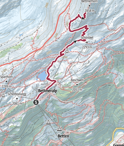Karte / Wanderung vom Bettmersee aufs Bettmerhorn