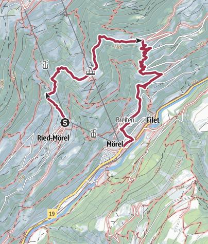 Karte / Wanderung von Ried-Mörel über Goppisberg nach Mörel-Filet