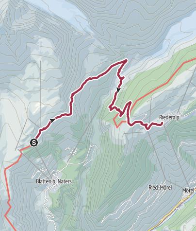 Karte / Wanderung von der Belalp über die Hängebrücke zur Riederalp