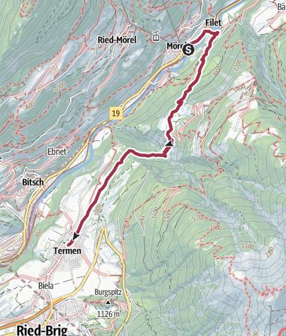 Karte / Wanderung von Mörel-Filet über Zen Achru nach Termen