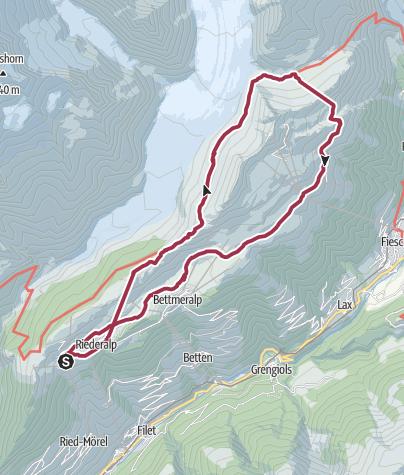 Karte / Wanderung von der der Riederalp (Moosfluh) zum Märjelensee und zurück