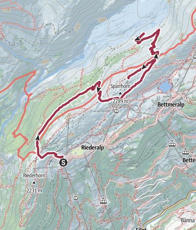 Karte / Wanderung von der Riederalp durch den Aletschwald zu den Chatzulechern