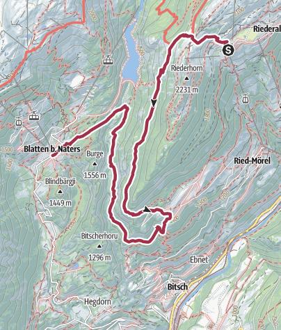 Karte / Wanderung von der Riederalp über die Knebelbrücken nach Blatten