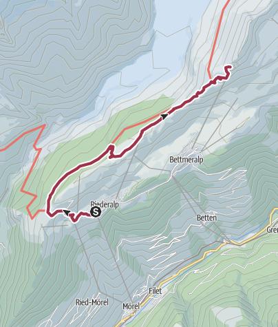 Karte / Wanderung von der Riederalp über den Moränenweg zum Bettmerhorn