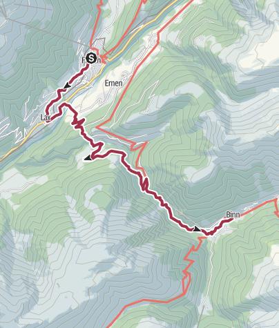 Karte / Wanderung von Lax über Hockmatta und Twingischlucht nach Binn