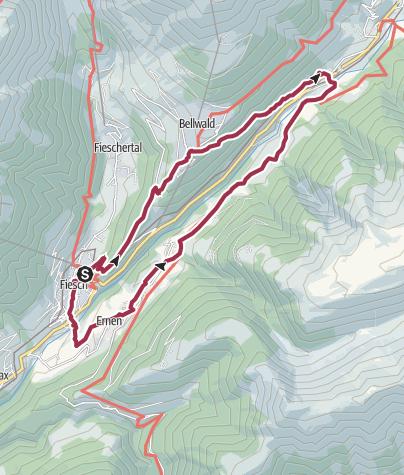Karte /  Wanderung von Fiesch über Bellwald, Niederwald und Ernen nach Fiesch