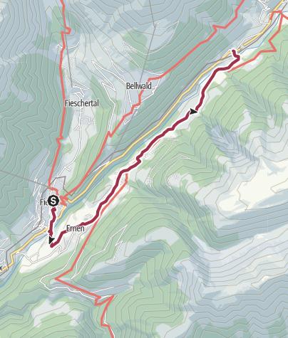 Karte / Wanderung von Fiesch nach Mühlebach über Steinhaus nach Niederwald
