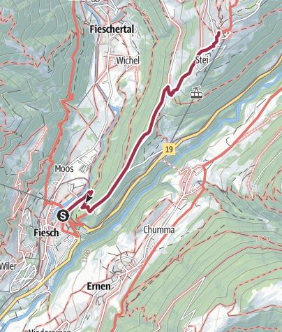 Karte / Wanderung von Fiesch zur St. Annakapelle nach Bellwald