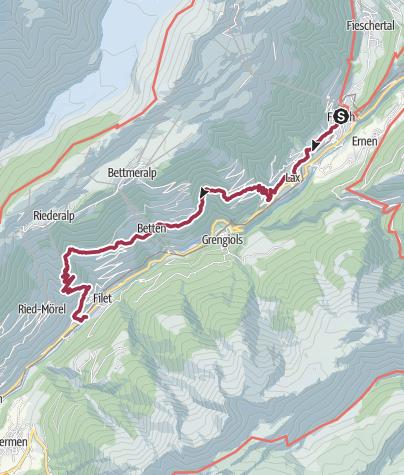 Karte / Wanderungvon Fiesch über Martisberg und Goppisberg nach Mörel-Filet