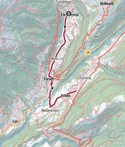 Karte / Wanderung vom Fieschertal über Fiesch nach Ernen
