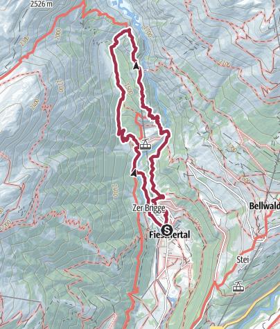 Karte / Wanderung vom Fieschertal zur Burghütte und zurück