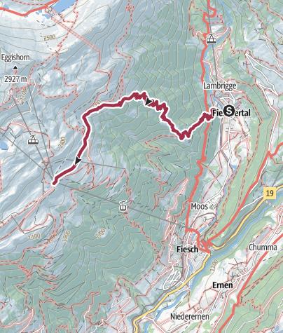 Karte / Wanderung vom Fieschertal über Matt zur Fiescheralp