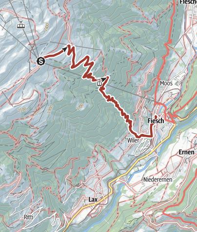 Karte / Themenweg Gogwärgiweg von der Fiescheralp nach Fiesch