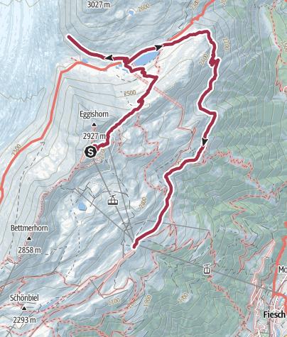 Karte / Wanderung vom Eggishorn via Märjelensee  zur Fiescheralp