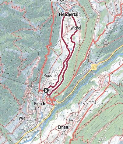 Karte / Wanderung Rollstuhlweg von Fiesch nach Fieschertal