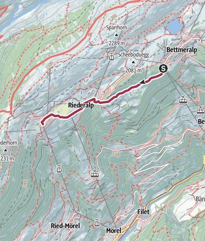 Karte / Wanderung von der Bettmeralp über die Aletschpromenade zur Riederalp