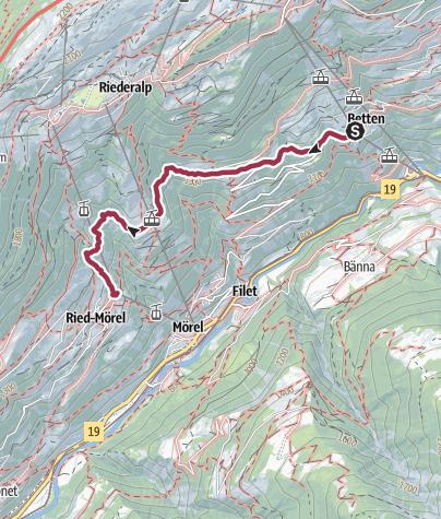 Karte / Wanderung von Betten Dorf über Goppisberg nach Greich
