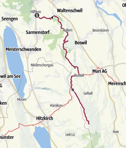 Karte / Freiämterweg (3): Hilfikon - Buttwil - Horben