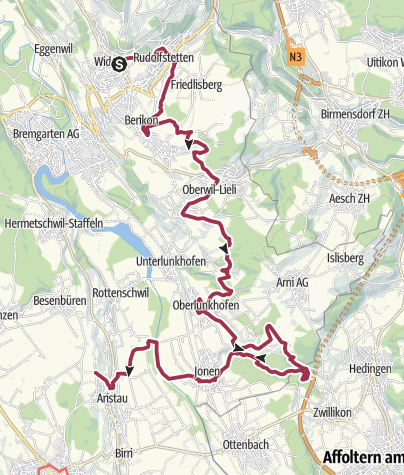 Karte / Freiämterweg (8): Widen - Chapf