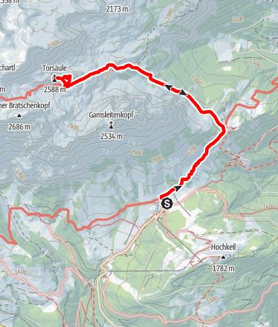 Karte / Prechtig - Klettertour auf die markante Torsäule (2.588 m)