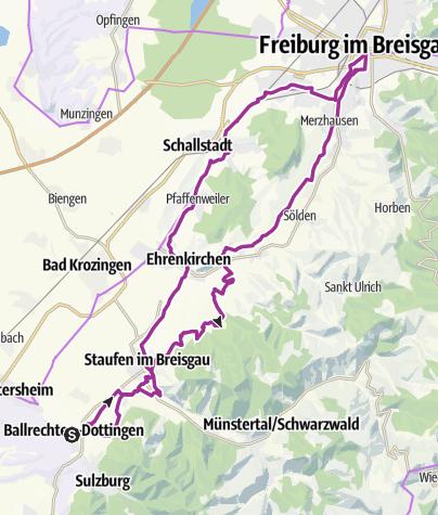 Karte / Vom Markgräflerland nach Freiburg