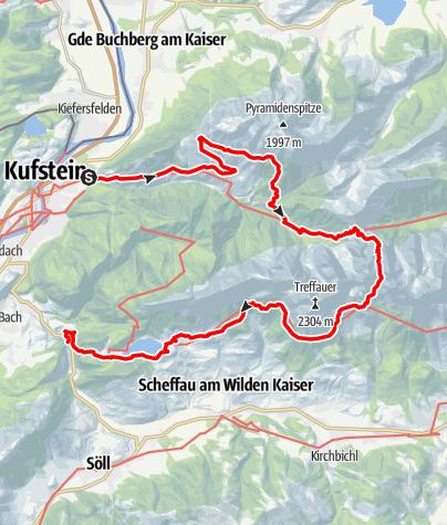 Map / In vier Tagen durch das Kaisergebirge - Hüttentour