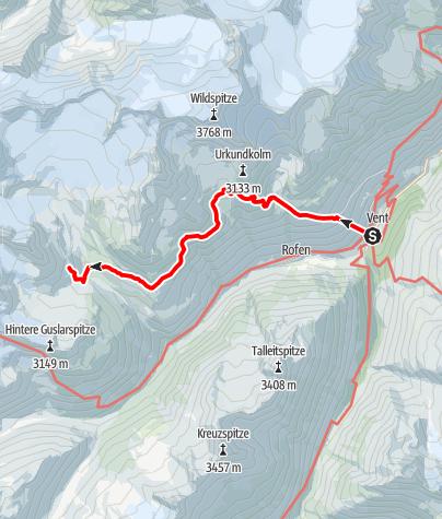 Karte / Vent - Breslauer Hütte - Vernagthütte