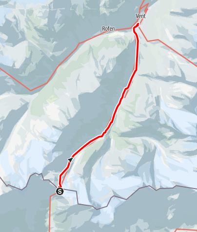Karte / Similaunhütte - Martin Busch Hütte - Abstieg nach Vent