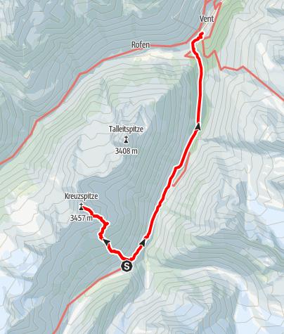 Map / Martin Busch Hütte - Kreuzspitze - Martin Busch Hütte - down to Vent