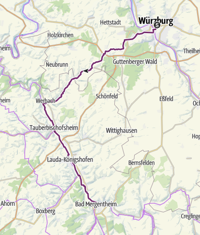 Karte / Schleifenroute DE / Würzburg - Bad Mergentheim Etappe 91/1 Alternativroute