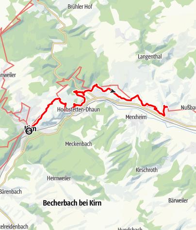 Karte / 03. Etappe Hildegard von Bingen Pilgerwanderweg: Kirn - Monzingen