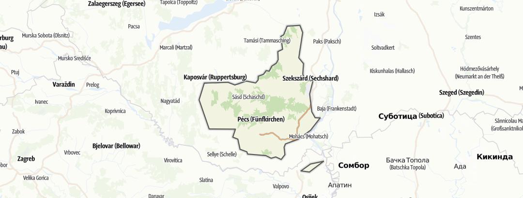 Map / Hiking trails in Mecsek és Tolna-Baranyai-dombvidék