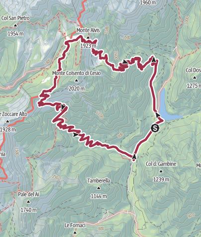Cartina / Rifugio Boz dalla Val Canzoi