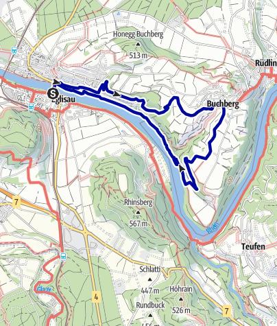"""Karte / Von Eglisau nach Buchberg mit Einkehr in der """"Besenbeiz"""""""
