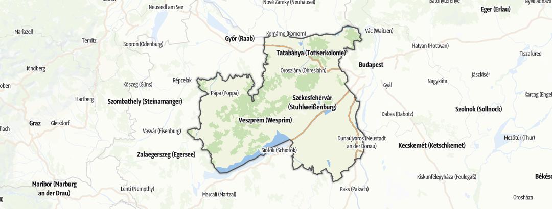 מפה / מרכזי מידע לתיירים ברחבי Közép-Dunántúl